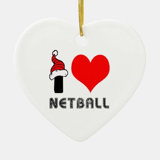Amo diseño del Netball Ornamentos De Navidad