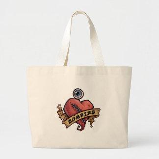 amo diseño del ojo y del corazón de los zombis bolsas