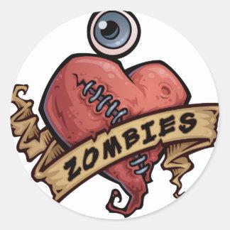 amo diseño del ojo y del corazón de los zombis pegatina