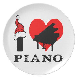 Amo diseño del piano plato de cena