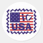 Amo diseño del sello de los E.E.U.U. Pegatinas Redondas