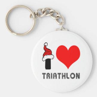 Amo diseño del Triathlon Llavero Redondo Tipo Pin