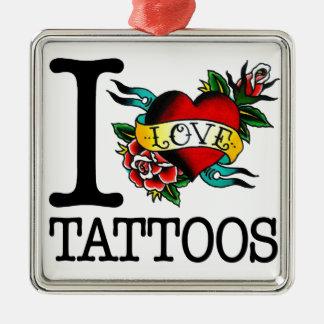 amo diseño entintado tatuaje del tat de los adorno navideño cuadrado de metal