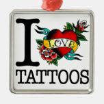 amo diseño entintado tatuaje del tat de los adorno cuadrado plateado