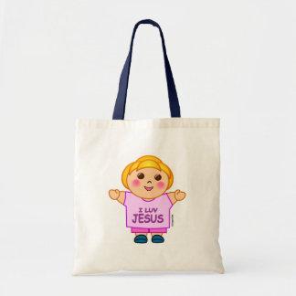 Amo diseño religioso del regalo de la niña de Jesú Bolsa Tela Barata