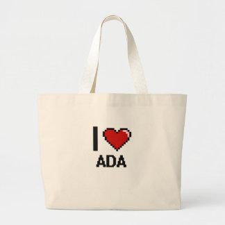Amo diseño retro del Ada Digital Bolsa Tela Grande
