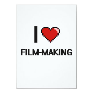 """Amo diseño retro del Película-Making Digital Invitación 5"""" X 7"""""""