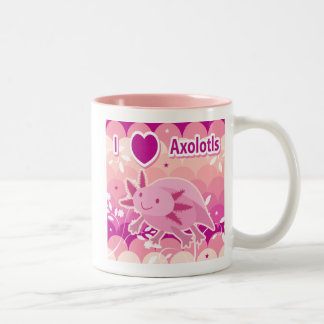 """""""Amo diseño rosado del Axolotl de los Axolotls"""" Taza Dos Tonos"""