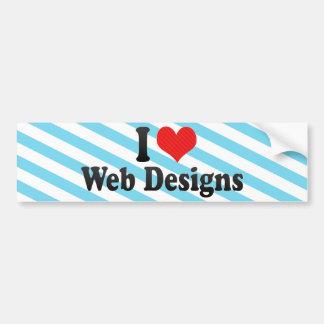 Amo diseños web pegatina de parachoque