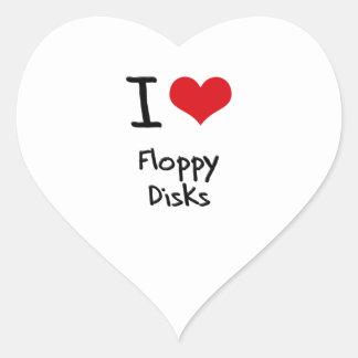 Amo diskettes pegatina en forma de corazón
