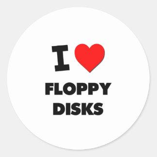 Amo diskettes pegatinas redondas