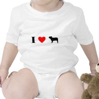 Amo dogos franceses traje de bebé
