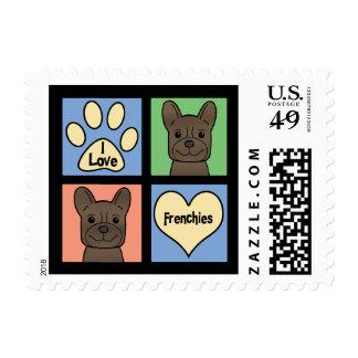 Amo dogos franceses sellos postales