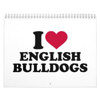 Amo dogos ingleses calendario
