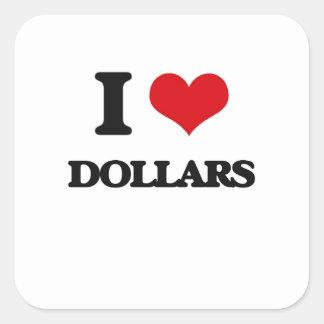 Amo dólares calcomania cuadradas personalizadas
