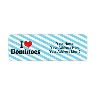 Amo dominós etiqueta de remitente