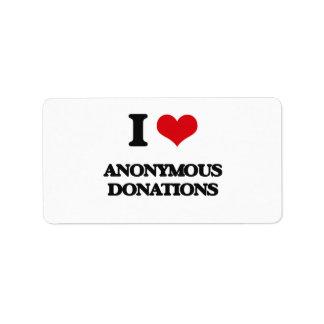 Amo donaciones anónimas etiquetas de dirección