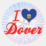 Amo Dover, Vermont Pegatinas Redondas
