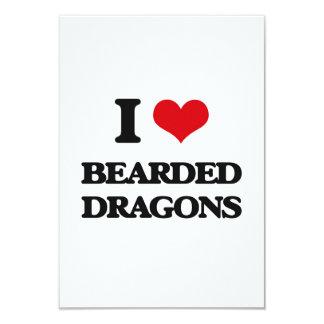 Amo dragones barbudos invitación 8,9 x 12,7 cm