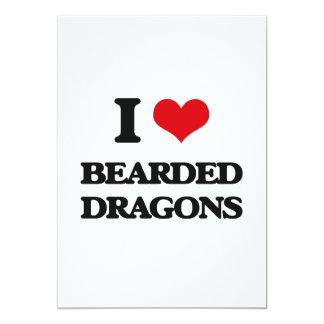 Amo dragones barbudos invitación 12,7 x 17,8 cm