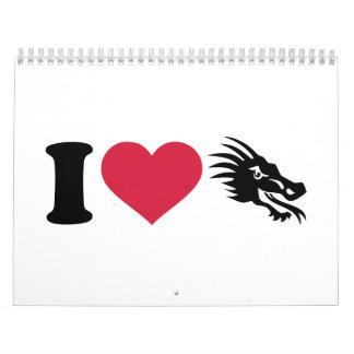 Amo dragones calendario de pared