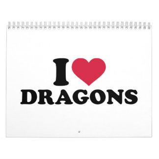 Amo dragones calendarios de pared