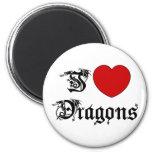 Amo dragones imán para frigorifico