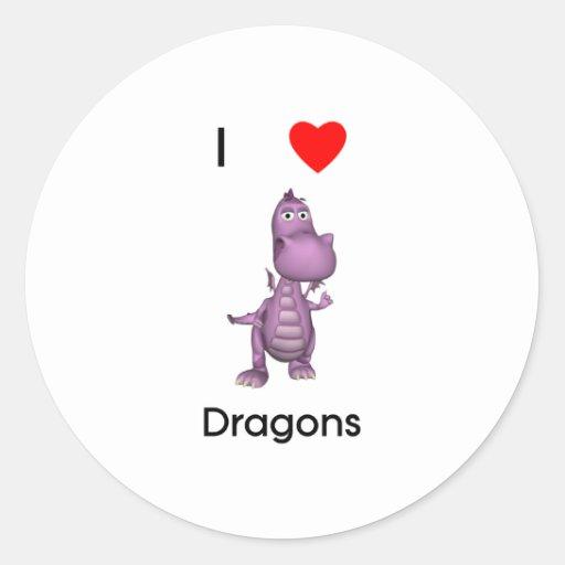 Amo dragones pegatina redonda