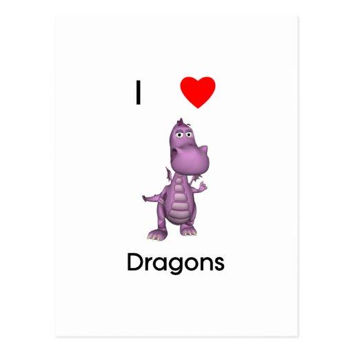 Amo dragones tarjetas postales