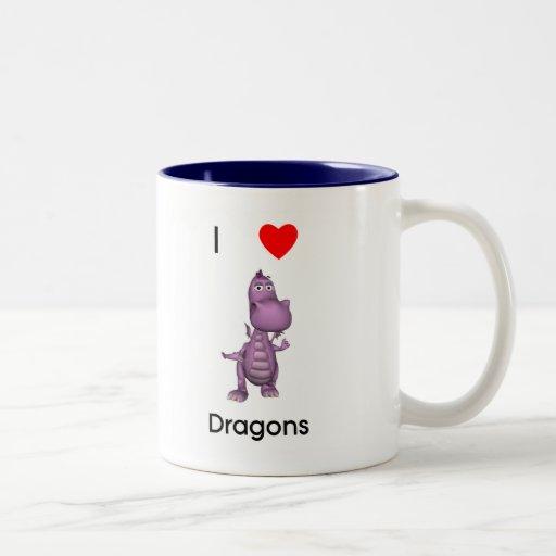 Amo dragones taza de café