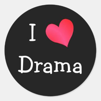 Amo drama etiquetas redondas
