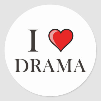 Amo drama pegatina redonda