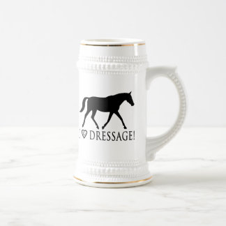 Amo Dressage con el caballo en silueta Jarra De Cerveza