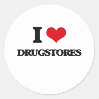 Amo droguerías pegatina redonda