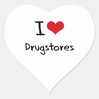 Amo droguerías pegatina en forma de corazón