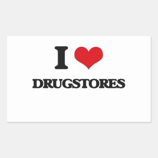 Amo droguerías pegatina rectangular