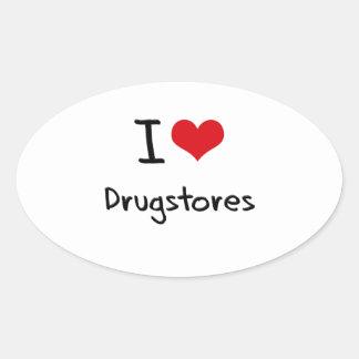 Amo droguerías pegatina ovalada