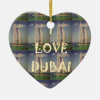 Amo Dubai Adorno Navideño De Cerámica En Forma De Corazón
