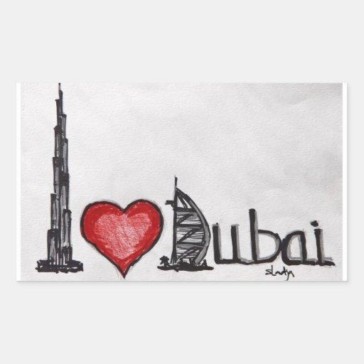 Amo Dubai Rectangular Pegatina