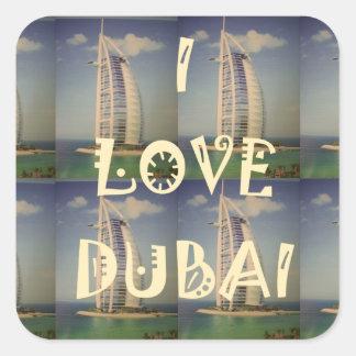 Amo Dubai Pegatina Cuadrada