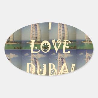 Amo Dubai Pegatina Ovalada