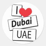 Amo Dubai UAE Pegatina Redonda