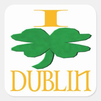 Amo Dublín Calcomania Cuadradas