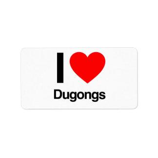 amo dugongs etiqueta de dirección