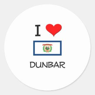 Amo Dunbar Virginia Occidental Pegatina Redonda