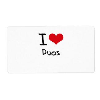 Amo dúos etiquetas de envío