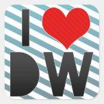 Amo DW Calcomanías Cuadradas Personalizadas