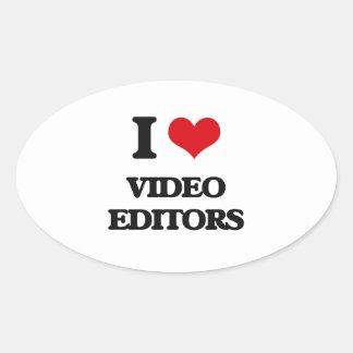 Amo editores de vídeo calcomanías óvales