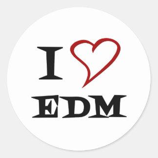 Amo EDM Pegatina Redonda
