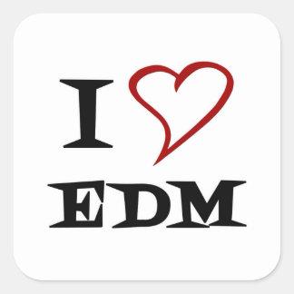 Amo EDM Pegatina Cuadrada